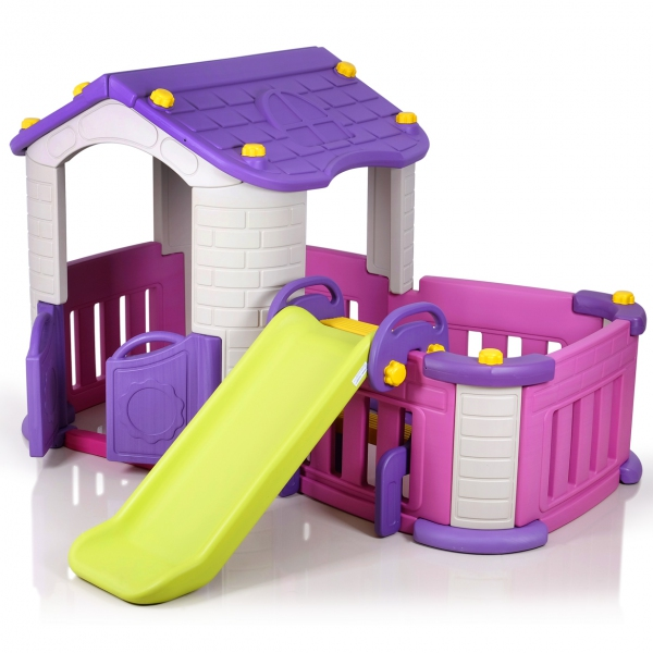 29030 big playhouse with slide baby play house baby playground equipment. Black Bedroom Furniture Sets. Home Design Ideas