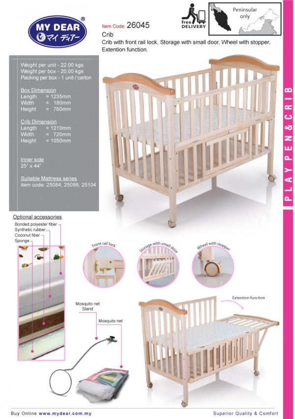 26045 Wood Crib Fitted Mattress Size 25 Quot X 44 Quot Playpen