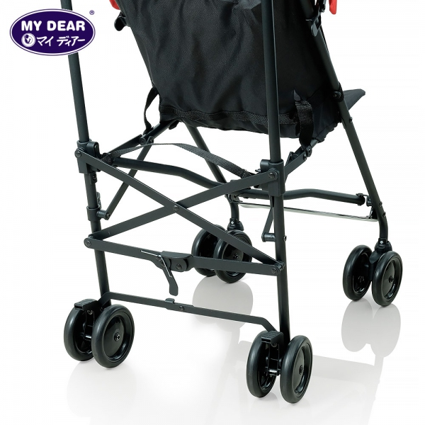 My Dear baby buggy 17002 - lift up latch, pull up belt to fold
